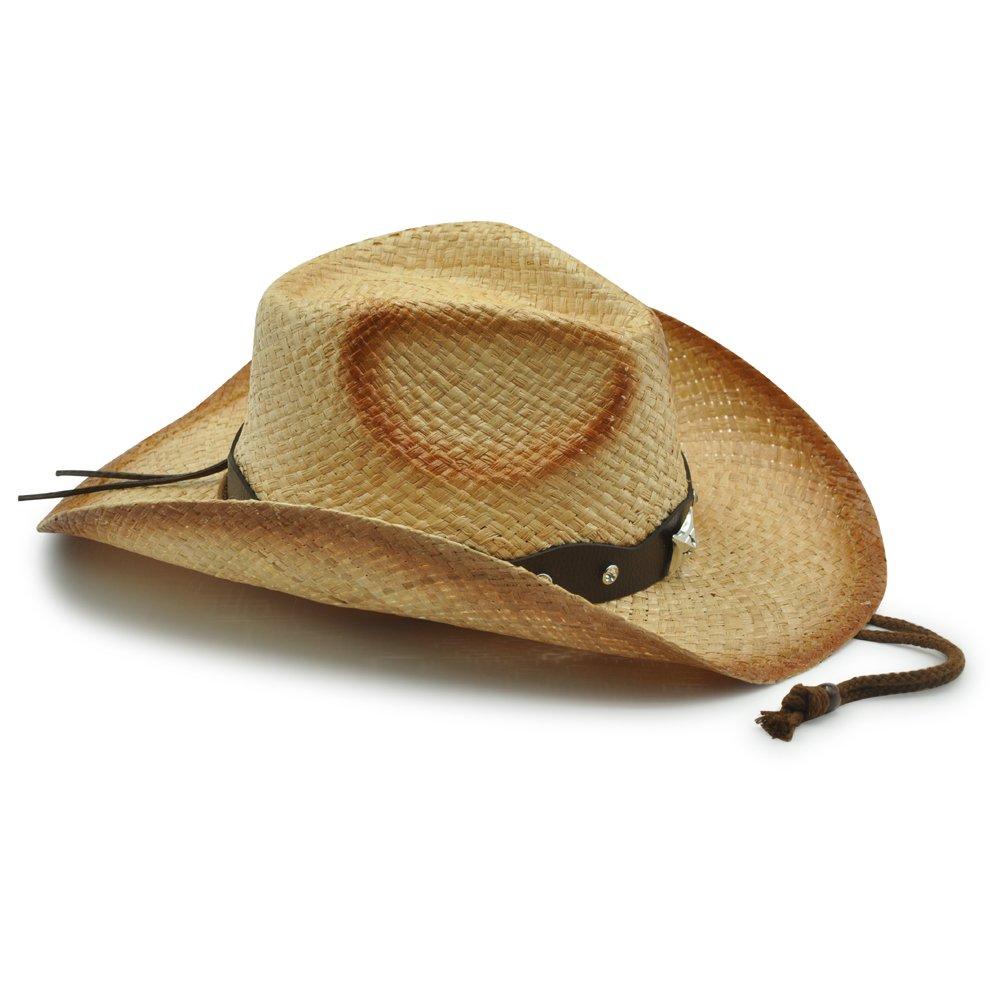 TEA STAIN5 Mens /& Womens Classic 100/% Raffia Western Cowboy Straw Hat
