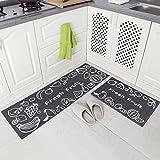 Kitchen Rugs Grey Carvapet 2 Piece Non-Slip Kitchen Mat Rubber Backing Doormat Runner Rug Set, Fruit Design (Grey 15
