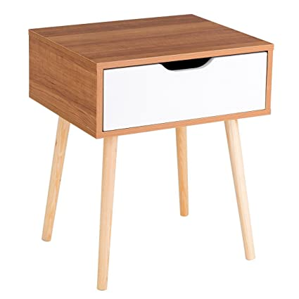 a7390925520 Amazon.com  End Side Storage Drawer Nightstand Solid Wooden Leg Modern  Design Suit Any Style Bedroom Living Room  Kitchen   Dining