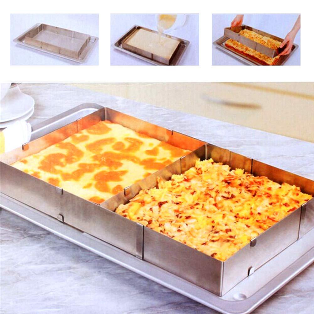 Teglia da forno con cornice rettangolare regolabile –  Teglia quadrata, allungabile, 5 cm di altezza –  Anello torta in acciaio INOX, 100% inossidabile, lavabile in lavastoviglie Taglia libera Silver EMVANV