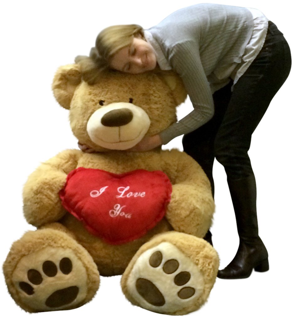 amazoncom i love you giant teddy bear 5 foot soft tan 60 inch holds heart pillow toys games