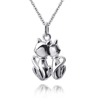 MATERIA 45 cm collar con mujer niños Gatos colgante de plata 925 con grabado en rodio Incluye caja # 349 - 30: Amazon.es: Joyería