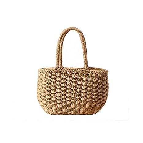 Majome Bolso de señora Lady Girl Straw bolso tejido Vintage para vacaciones de playa de viaje