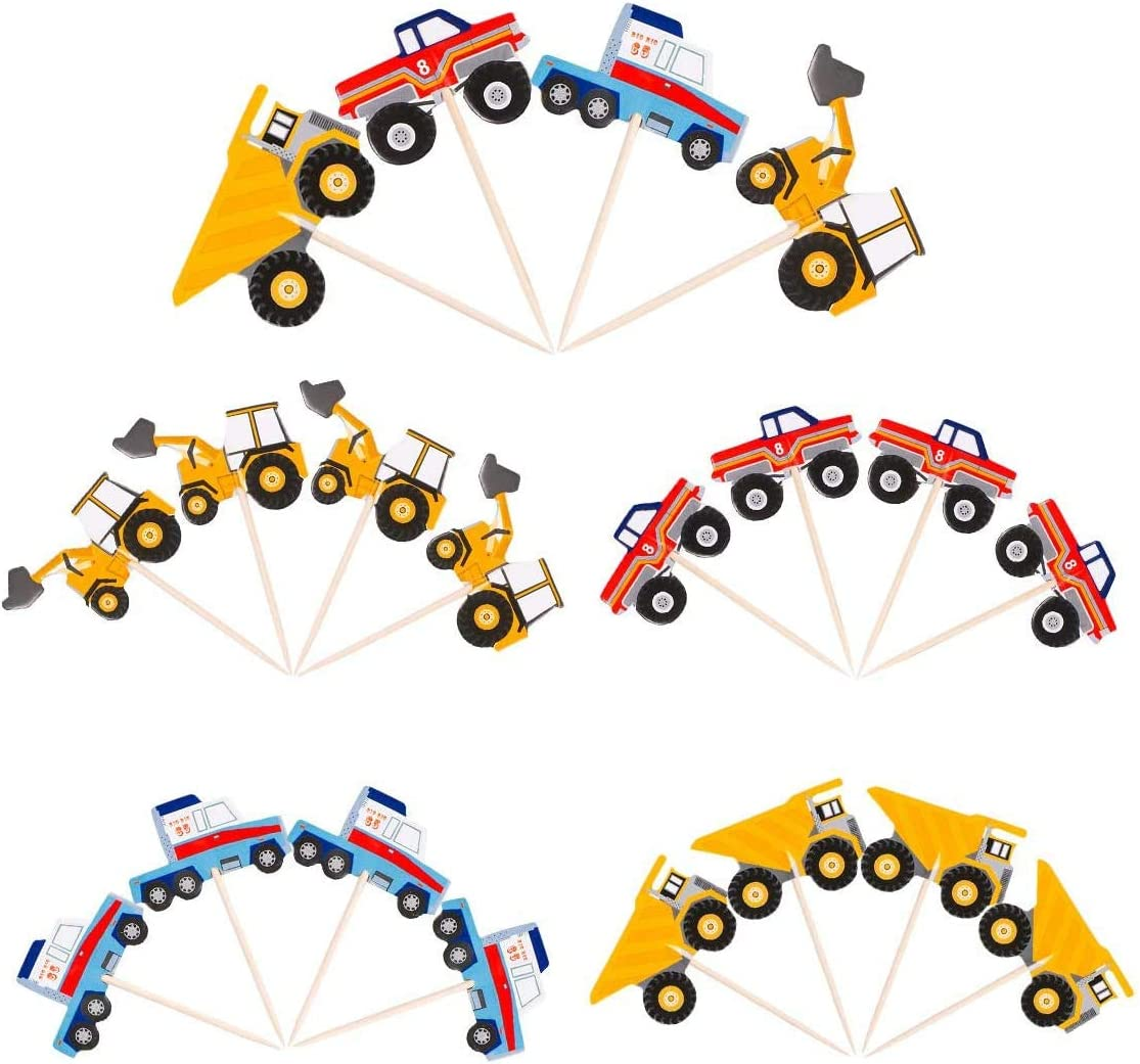 48Pcs Truck Toppers Decorations - Car Construction Cupcake Picks for Birthday/Baby Shower Party Decorative Cake Food Truck Topper Supplies