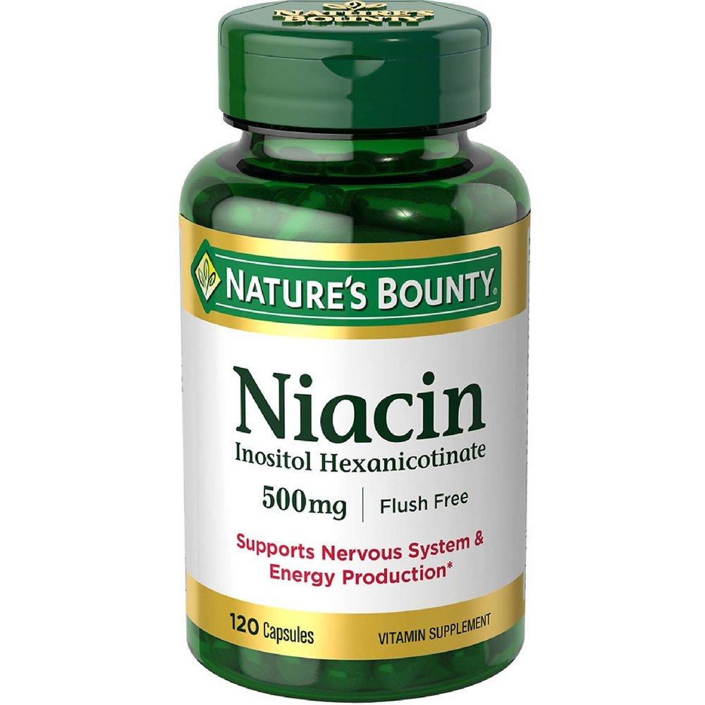 Nature's Bounty Niacin 500 mg capsules 120 ea ( Pack of 12)
