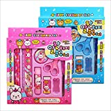 Guodanqing Stationery Set 10 Pieces Creative School Children Learning Supplies Gifts Lovely Children Gifts (Color : Pink)