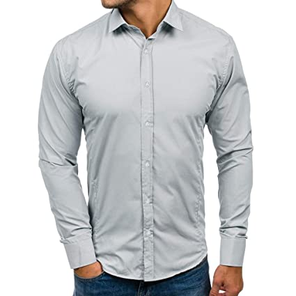 e576f6e4 KFSO Men's Dress Shirts Slim Fit Solid Long Sleeve Casual Button Down Shirts,  Elastic Formal