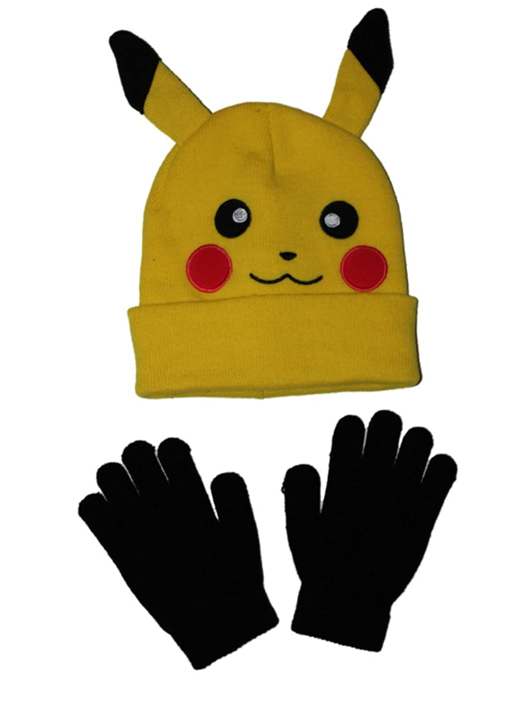 Amazon.com  Pokemon Pikachu Character Hat with Gloves OSFA  Clothing cdb52f538a5