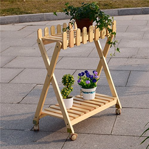 With universal pulley double balcony solid wood flower rack more meat green radix orchid pots frame iron shelf by Flower racks