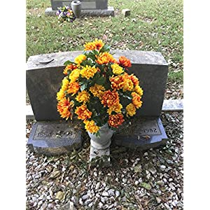 Rubys Silk Flowers Orange and Yellow Mums, featuring the Stay-In-The-Vase Design(C) Flower Holder (LG2026) 2