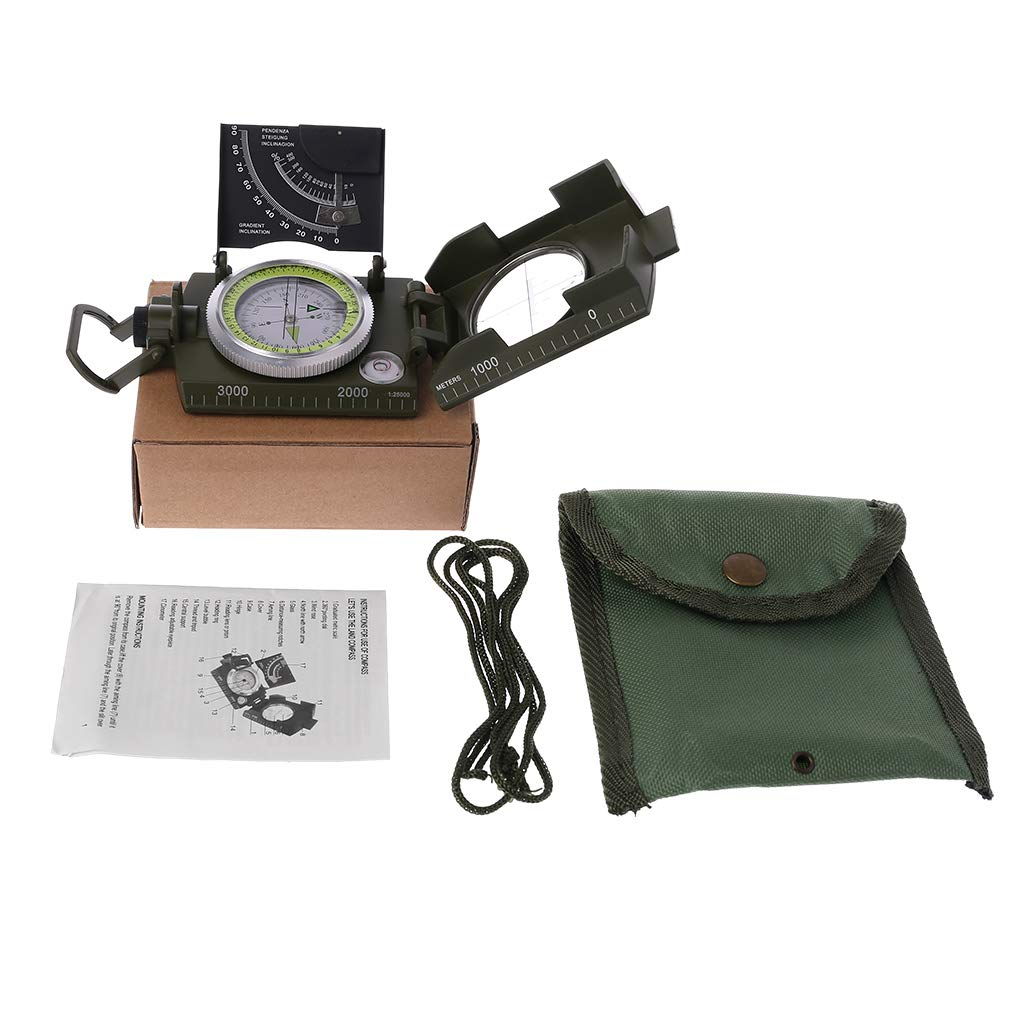 Vitality-Store Multi-Functional Compass, Military Outdoor Tactical Camping Hunting Device with Fluorescent Dial Plate Scale Gradienter Diastimeter Portable Compass by Vitality-Store