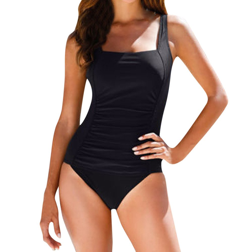 Mlide Women's One Piece Plus Size Swimwear Square Neck Swimsuit Push Up Padded Bikini Bathing Suit,Black S