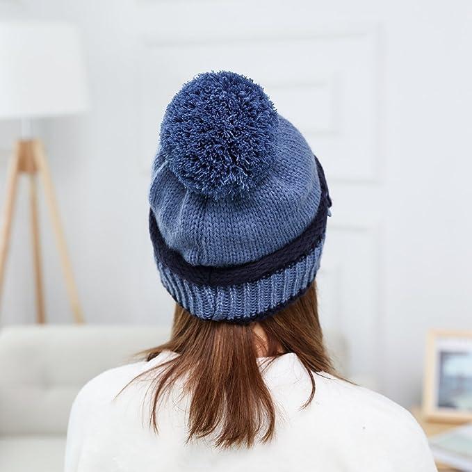 TININNA 3 pezzi Donna Invernali Caldo Lavorato a maglia Cappello con cuffia  con cappuccio Berretto da sci Beanie Hat con Sciarpa e maschera Maschera:  ...