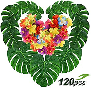 Coodoo 120pcs Palm Leaves and Hawaiian Hibiscus Flowers…