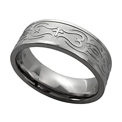 Silver Stainless Steel Spinner Band Ring with Blue Tribal Design Size 10 *New