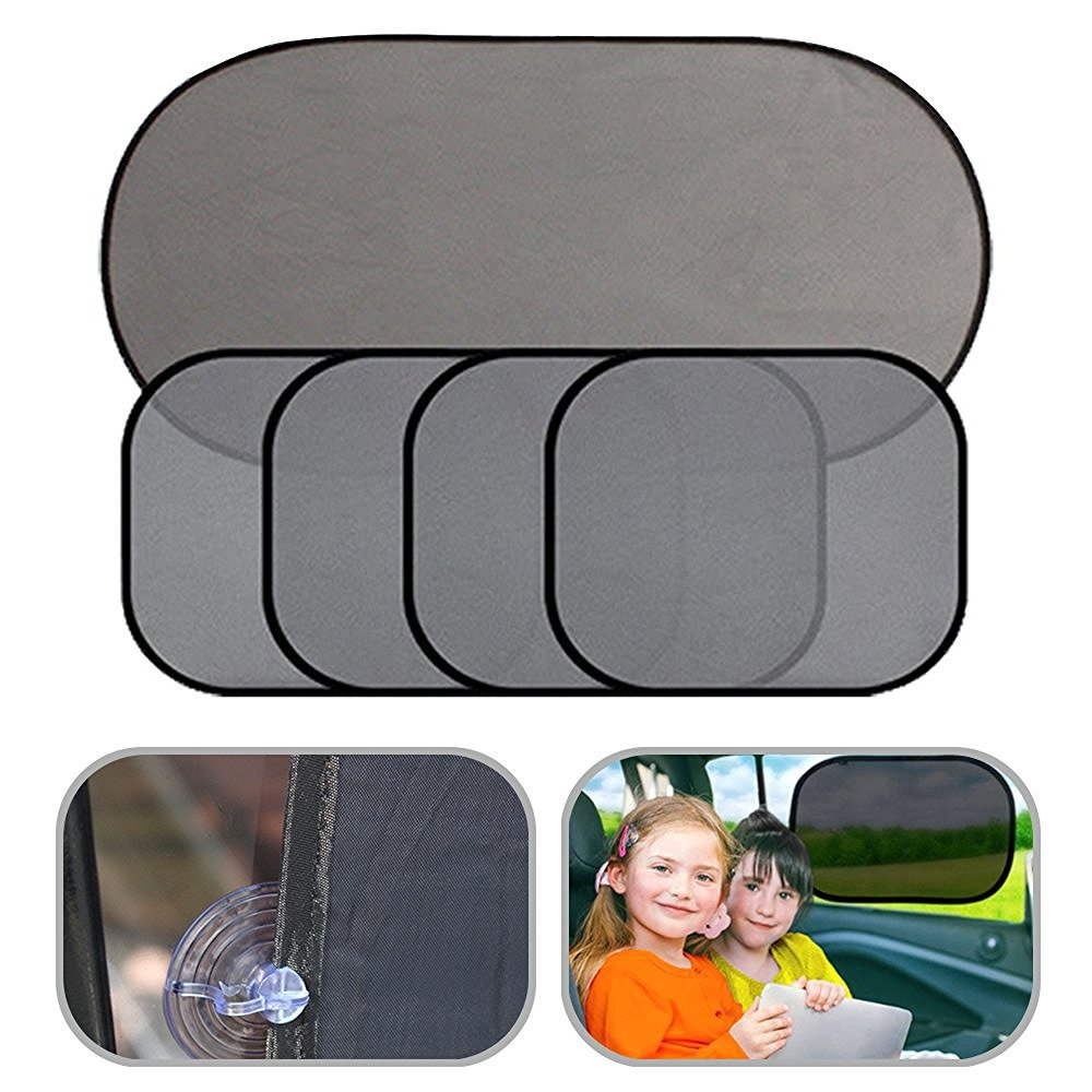 5pcs Universal Fit Auto Car Sun Shade for Side and Rear Window baby sun shades for Most Cars and SUV Protect your kids baby pets in the back seat-Block over 97% of Harmful UV Rays with See thru View Super PDR