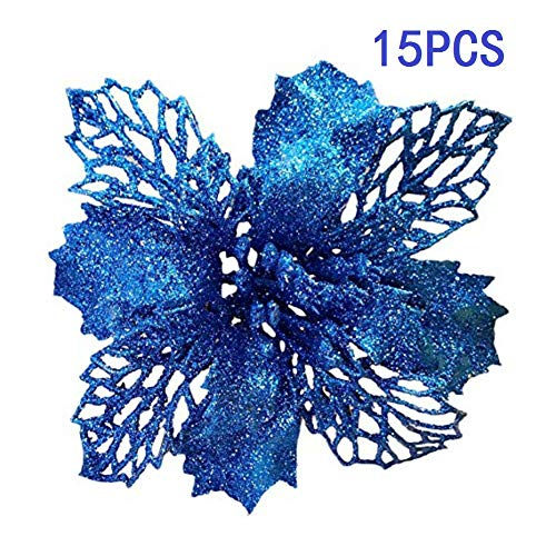 15PCS Glitter Poinsettia Christmas Tree Ornaments,Silver,Gold, Green, Blue, Red Blue Green Silver Christmas Trees
