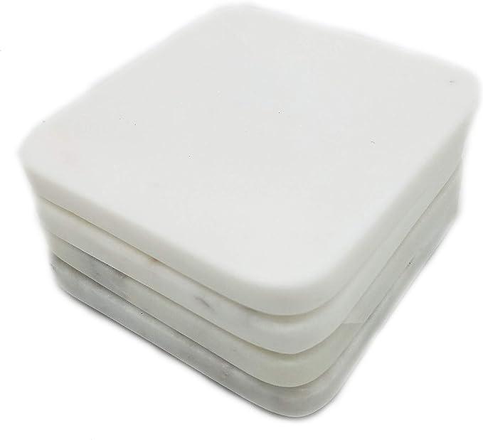 Amazon Com Jodhpuri Inc Jodhpuri Set Of 4 Smooth Natural Stone Coasters With Non Slip Padding To Protect Furniture 4 X 4 Inches 4 X 4 Marble White Coasters