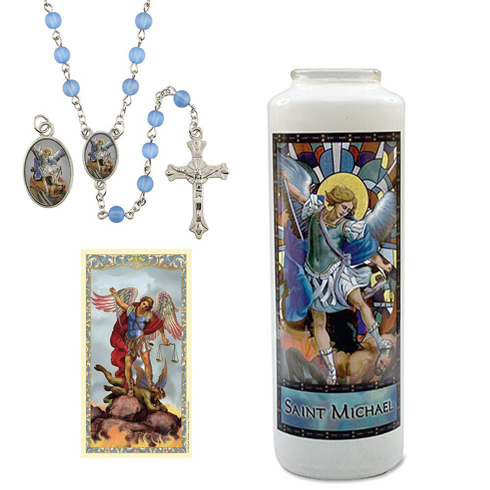 Catholic Stained Glass Candle Saint Michael The Archangel Adoration Gift Set- Includes: 6-Day Candle with Stained Glass Image of St Michael, Light Blue Rosary with Medal and Prayer Card