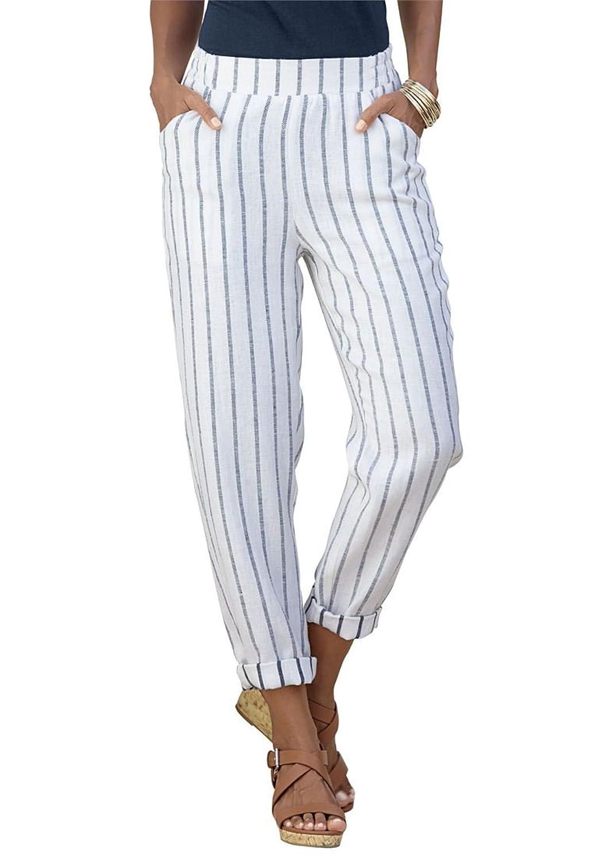 Roamans Women's Plus Size Striped Pants