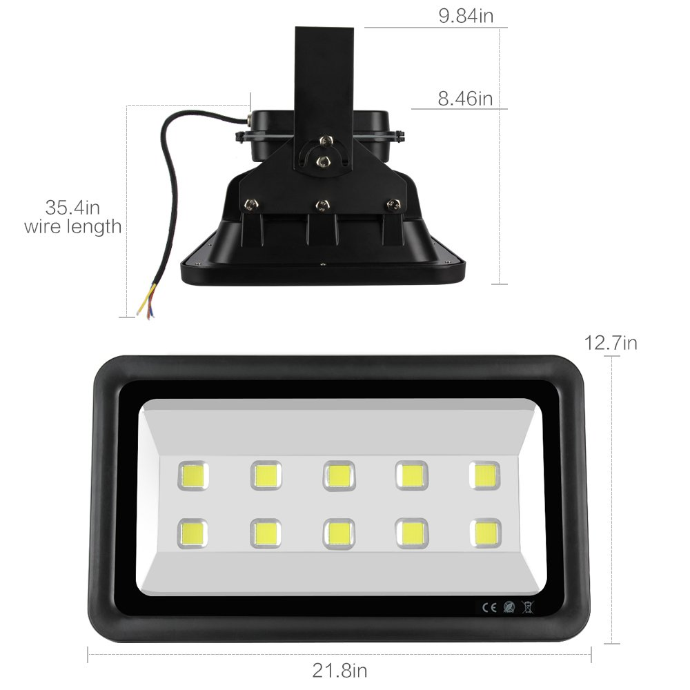 Dimgogo Super Bright 500w Led Floodlight Fixture High Power Indoor Wiring Track Lighting And Outdoor Cool White 50000lm Wide Beam Angle Square
