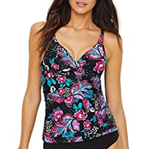 Anne Cole Womens Standard Twist-Front Underwire Shirred Floral Tankini Top