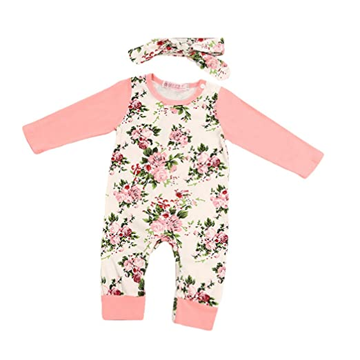 e9eaddd2d7f17 Infant Baby Girls Clothes Long Sleeve Bodysuit Floral Printed One-Pieces  Outfits With Headband 3