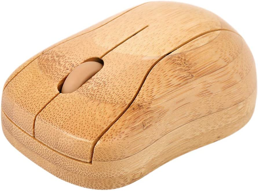 Artboy 2.4G Wireless Optical Bamboo Mouse 3 Adjustable DPI Computer Mouse with USB Receiver for Notebook PC Laptop Computer Yellow