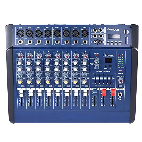 Console Amp - ammoon 8 Channels Powered Mixer Amplifier Digital Audio Mixing Console Amp with 48V Phantom Power USB/SD Slot for Recording DJ Stage Karaoke