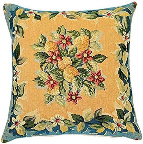 Corona Decor French Jacquard Decorative Pillow, Lemon
