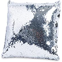 Throw Pillows for Couch 12 x 12, Also for Bed and Sofa, Decorative Silver Sequins
