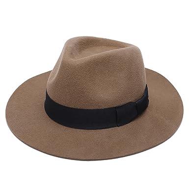 624afd433dfc7 HSBCC Men's Trilby Hat Porkpie Handmade 100% Wool Felt Gentle Style Fedora  Caps(Khaki