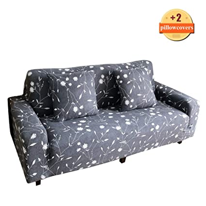 Enjoyable Ihoming Printed Stretch Sofa Slipcover Loveseat Slipcover Couch Slipcover With 2 Free Pillow Covers 2 3 4 Seat Sofa Covers Sofa 3Seat White Frankydiablos Diy Chair Ideas Frankydiabloscom
