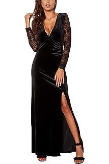 585338d8024 Meenew Women s Retro Long Sleeve Split Velvet Bodycon Long Formal Evening  Dress