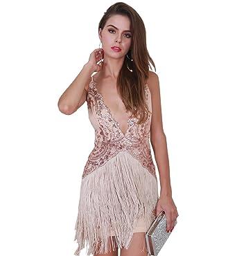 Missord Womens Summer Deep V Off Shoulder Tassel Backless Party Mini Evening Dress FT8519 Rose Gold