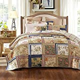 Tache Home Fashion DXJ10076-K 5 Piece Exotic 100% Cotton Japanese Emperor's Garden Quilt Set, King