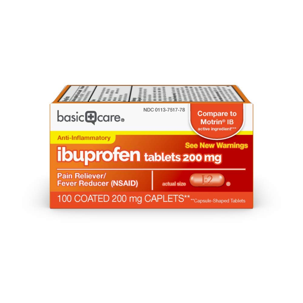 Amazon Basic Care Ibuprofen Tablets, 200 mg, Pain Reliever/Fever Reducer, 100 Count