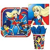 DC Comics Superhero Girl Birthday Party Tableware Bundle Kit Pack, Plastes, Napkins & Cups for 16