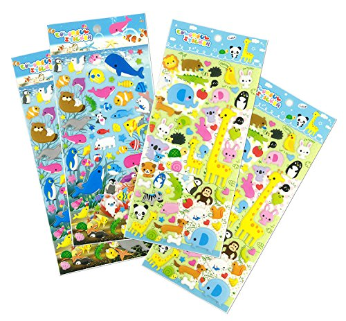 Set046 Cuteanimal   4 Sheets Cute Animal Reusable Puffy Stickers  Whale  Otters  Sea Lion  Penguin  Giraffe  Koala  Elephant  Monkey  Crocodile Etc   Size 3 50 X 7 50 Inch  Sheet