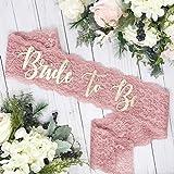 Lace Bachelorette Sash - Dusty Rose Lace - Metallic Gold ''Bride To Be''