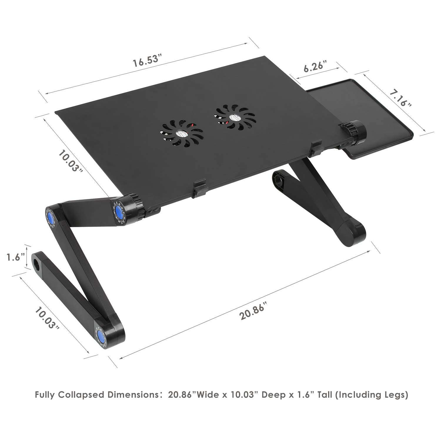 Femor Laptop Stand for Bed and Sofa Adjustable Lap Desk Portable Laptop Table Stand with 2 CPU Cooling Fans and Mouse Pad for 10in 17in Notebook MacBook and Tablet