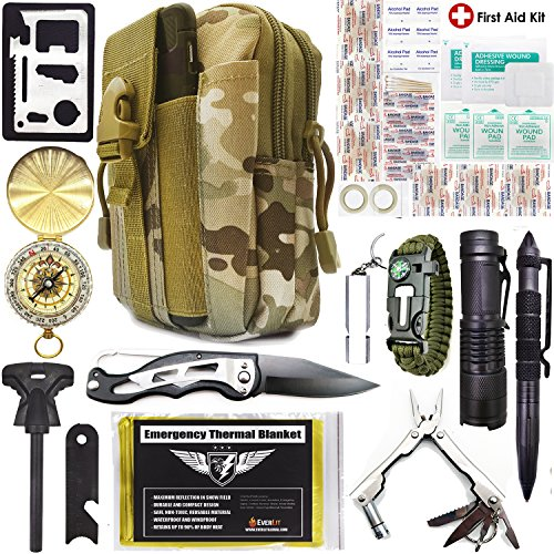 rvival Kit 40-in-1 Molle Pouch, Tactical Outdoor Gears, First Aid Supply, Survival Bracelet, Emergency Blanket, Tactical Pen, Fire Starter, Plier, for Camping, Hiking, Hunting ()