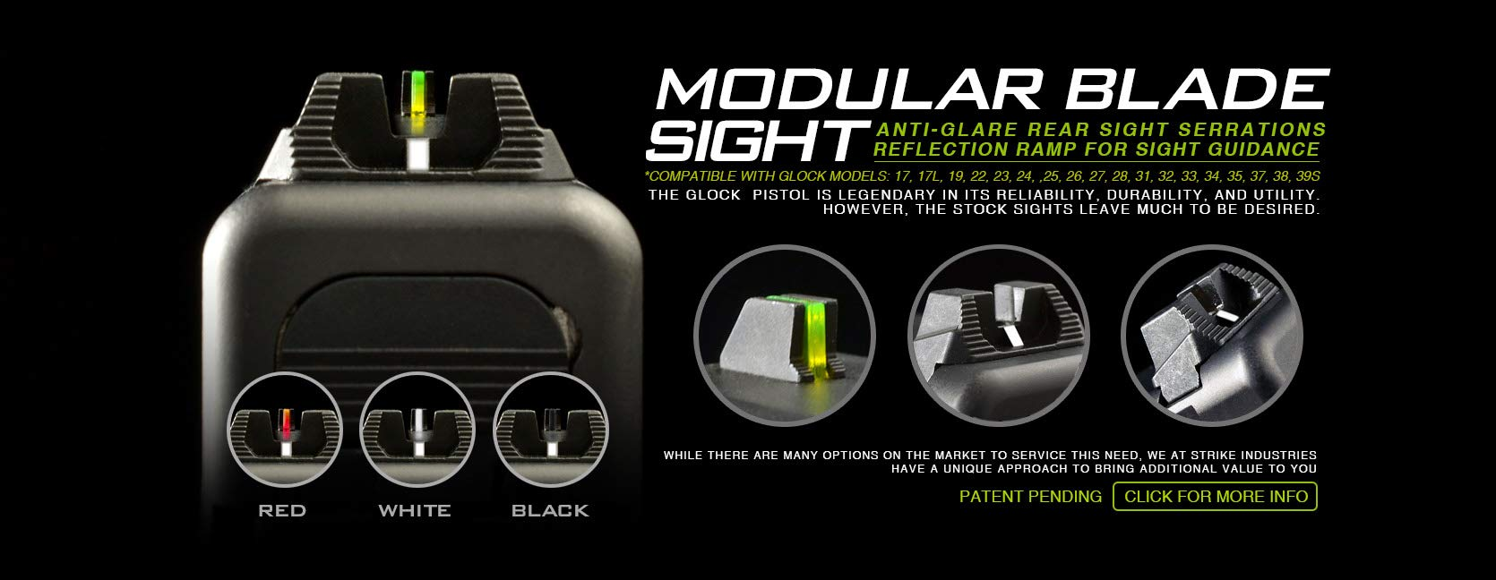 Strike Industries Modular Blade Sights for Glock - Fiber Optic Front and Rear Sight for Handgun with 4 Colors by Strike Industries