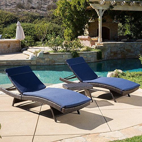 Christopher Knight Home Luana Outdoor 3-piece Wicker Adjustable Chaise Lounge Set with Cushions Navy For Sale