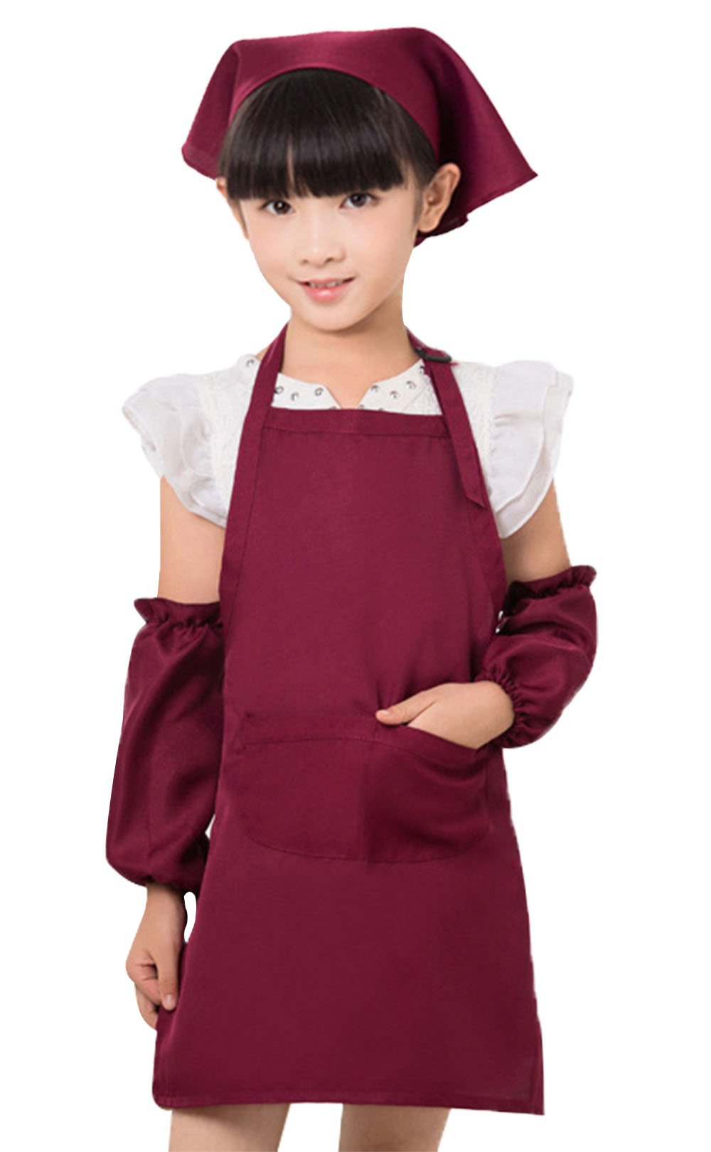 Happy Cherry Colorful Artist Painting Aprons for Kids with 2 Pockets & Sleevelet & Headkerchief Anti Dirty Size M - Red