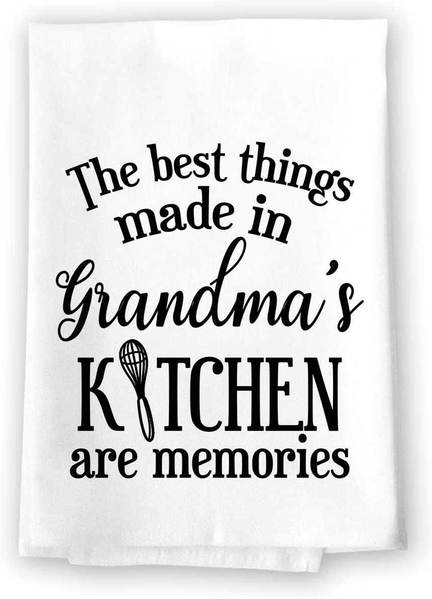Honey Dew Gifts Kitchen Dish Towels, The Best Things Made in Grandma's Kitchen Are Memories Flour Sack Towel, 27 inch by 27 inch, 100% Cotton, Multi-Purpose Inspirational Towel, Home and Kitchen Decor