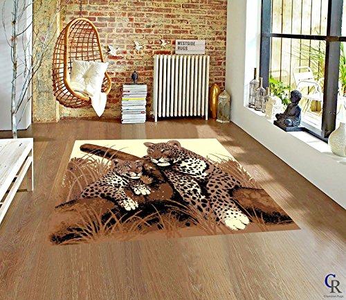 """Jaguar Area Rug (Champion Rugs African Leopard Tiger Family Area Rug Modern Playful Jaguars Novelty Carpet (5' 3"""" x 7' 5""""))"""