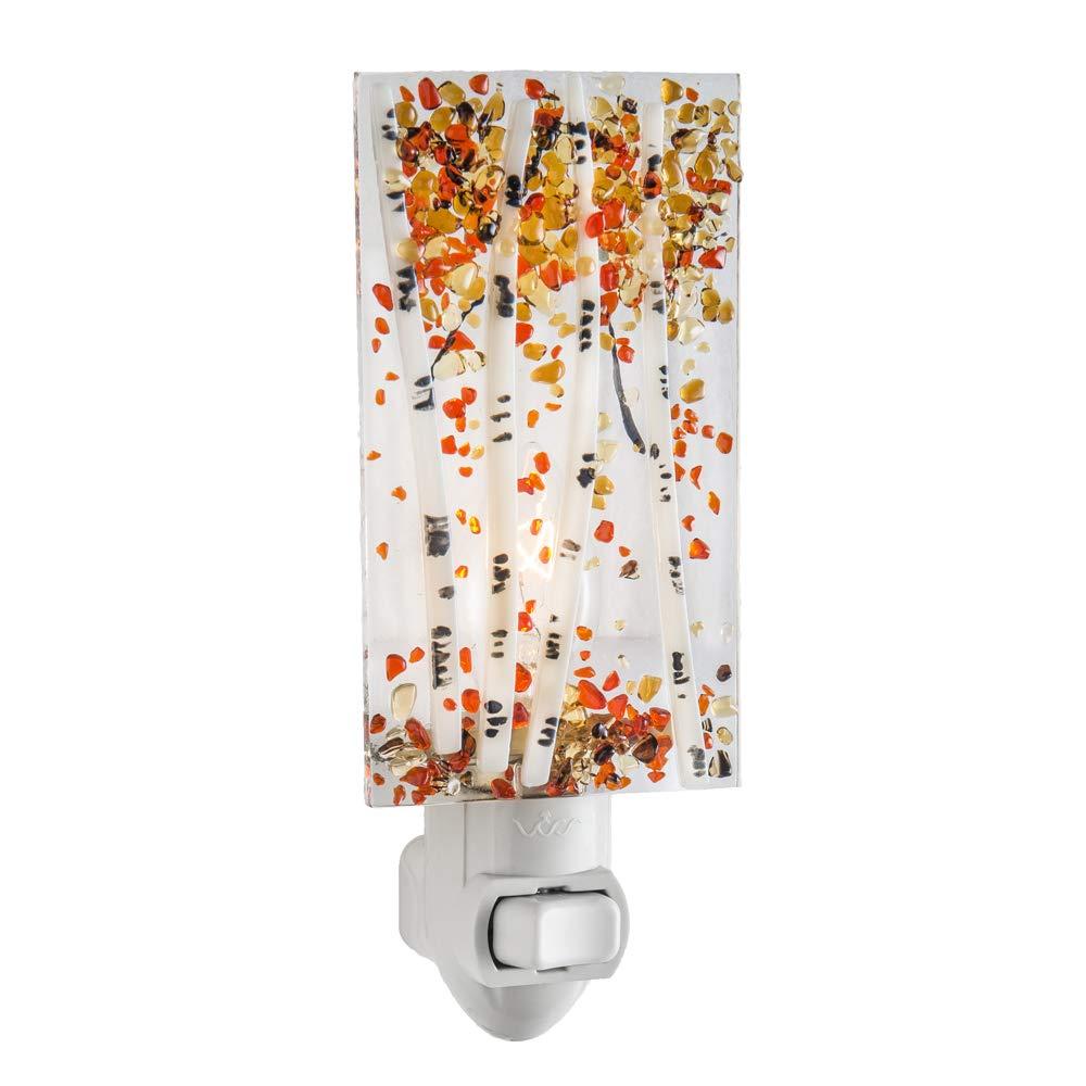 Decorative Night Light Fall Colors Aspen Trees Gold Brown Autumn Leaves Home Decor Wall Plug in Nightlight for Hallway, Bedroom, Bathroom, Kitchen Accent J Devlin NTL 189-1