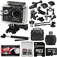 Zuma HD DVR 1080p Sports Video Recorder Action Camera Camcorder with LCD Screen + Mounts + 32GB Card + Selfie Monopod + Case + Kit