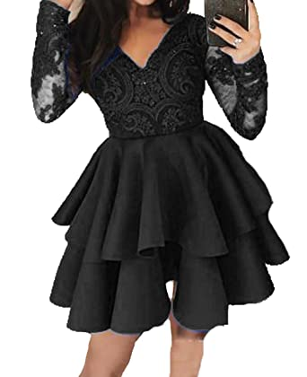 BessDress Long Sleeves Prom Dresses Short Lace V Neck Short Homecoming Dresses BD448